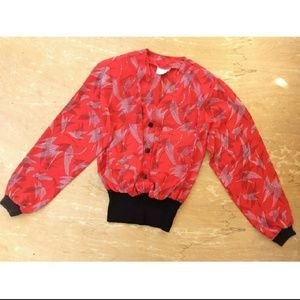 Vintage red chiffon long sleeve ribbed blouse med